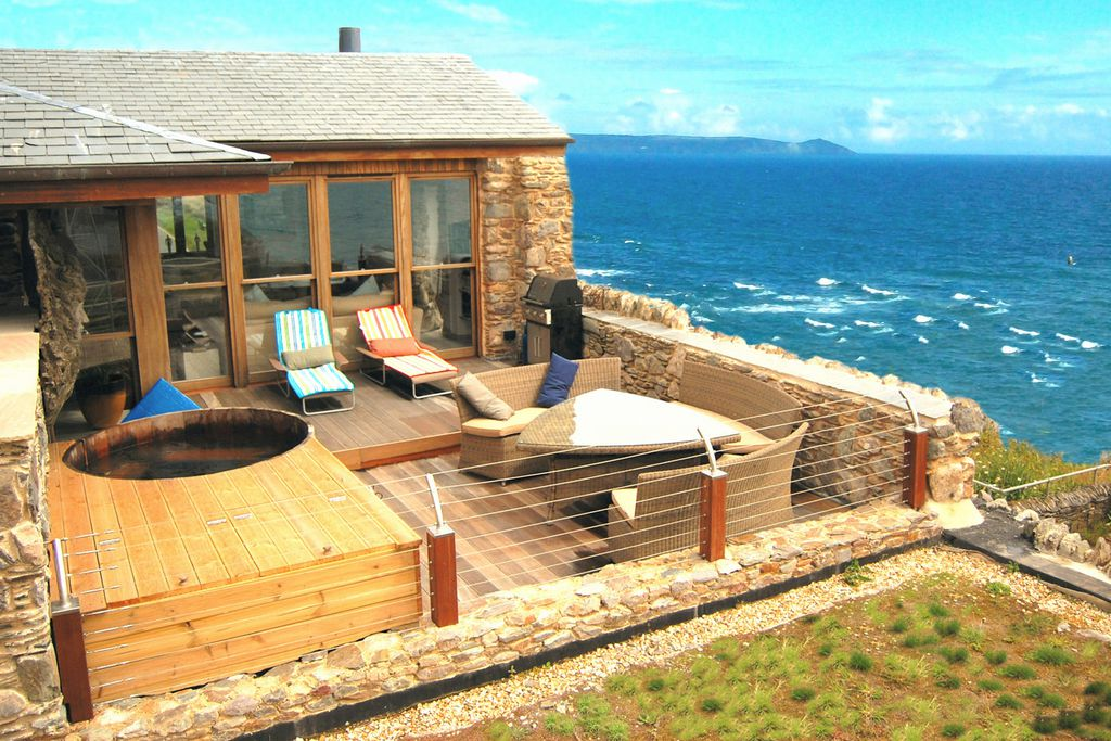 The terrace looking out to sea at Buddha Beach House in Cornwall