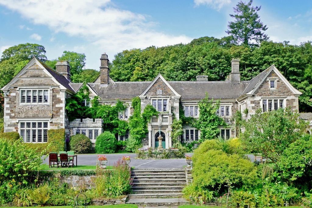 Exterior of house and grounds at Lewtrenchard Manor Hotel in Okehampton, Devon