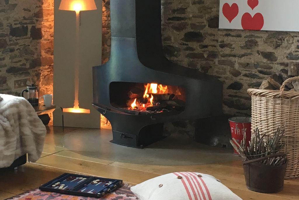 A roaring log burning fire