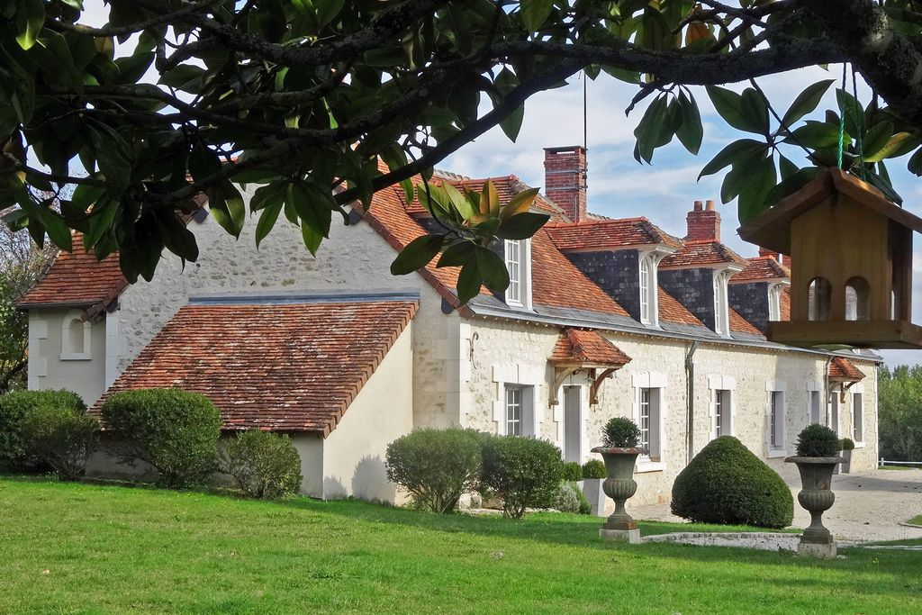 Exterior of La Longere in Loire Valley, France with large surrounding grounds