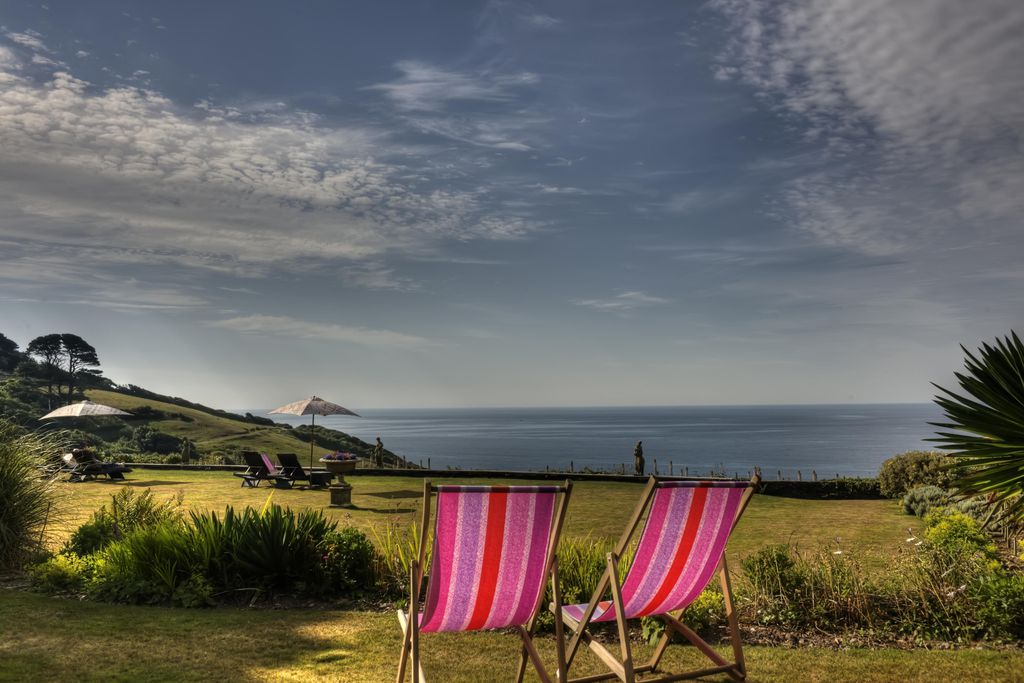 Deckchairs looking out to sea at the Talland Bay Hotel in Cornwall