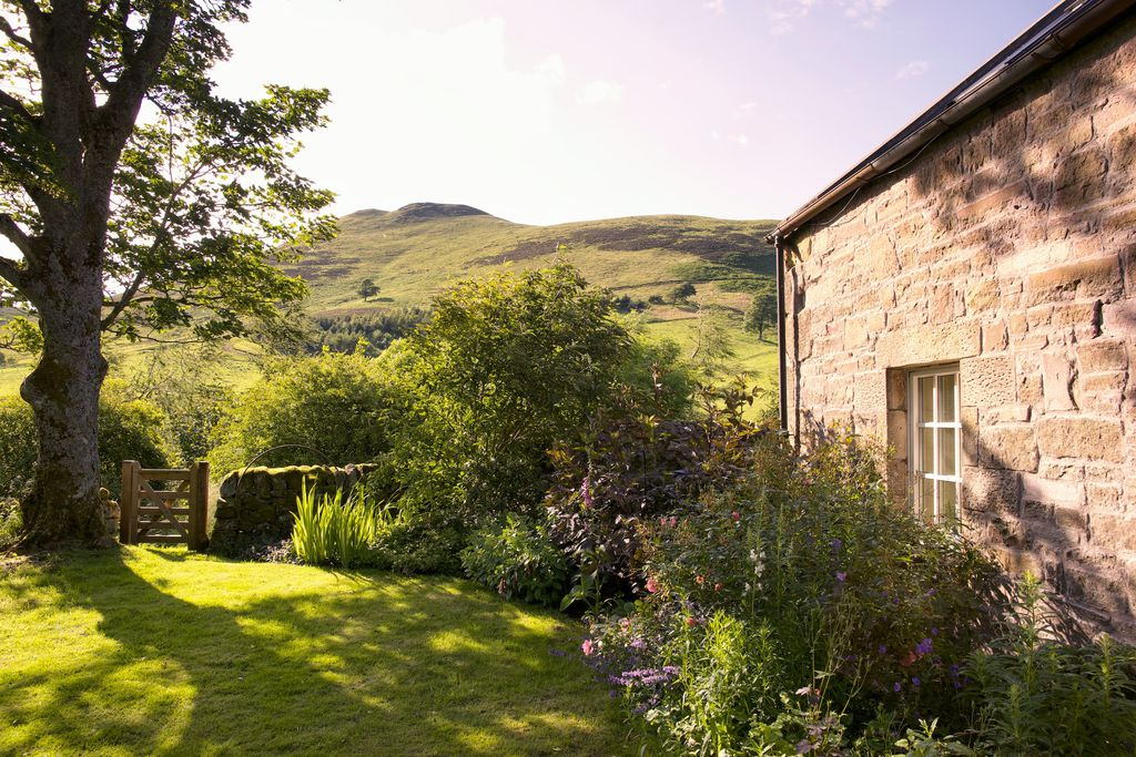 Stood in the lush, wild garden at Steading Cottage in Penicuik, Scotland with views of the surrounding mountains