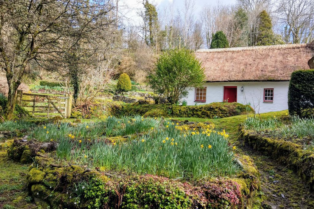 Exterior of the lovely Glan yr afon thatched cottage in Llandysul in Ceredigion within lush green surroundings