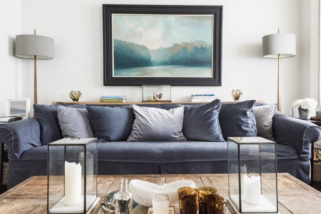 Light and modern lounge area at Pitchford House in Higher Baston, Devon with a seaside feel