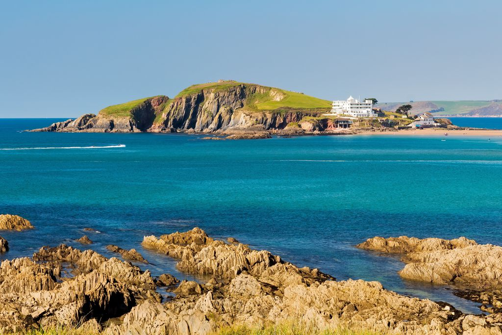 View of Burgh Island Hotel in Devon, UK from across the coast