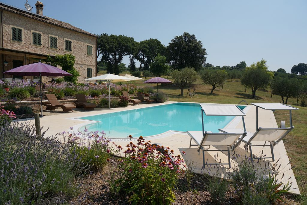 Pool area at Sant Elia in Ancona, Italy surrounded by a plethora of lavender