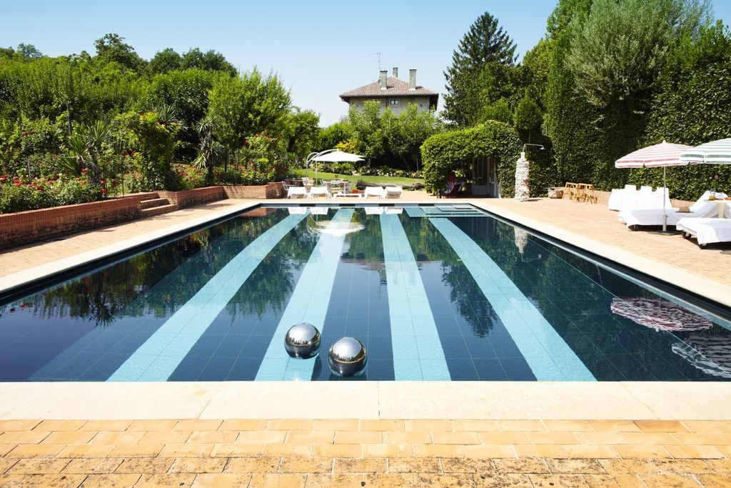 View of Villa La Quadrata in Padua, Italy from the pool area and grounds