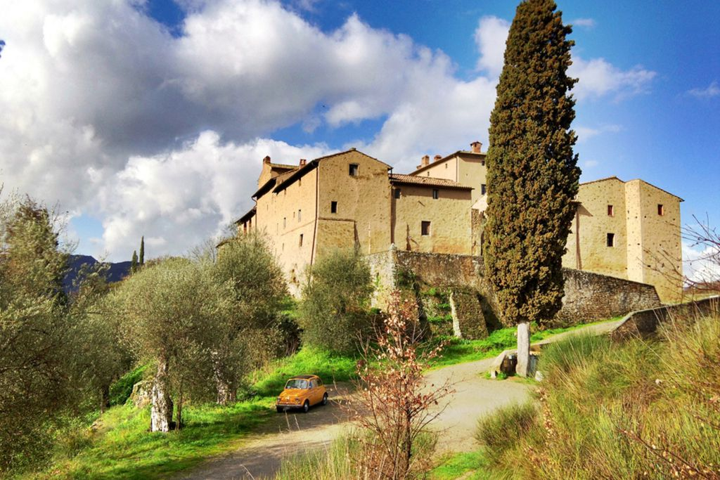 Castello di Potentino castle in a strolling distance from the village of Seggiano in Tuscany, Italy