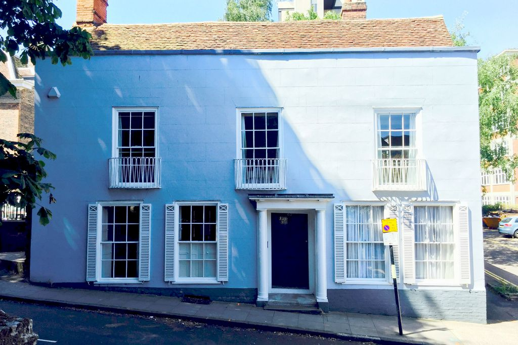 Bright blue Baye House right in the middle of Colchester, Essex