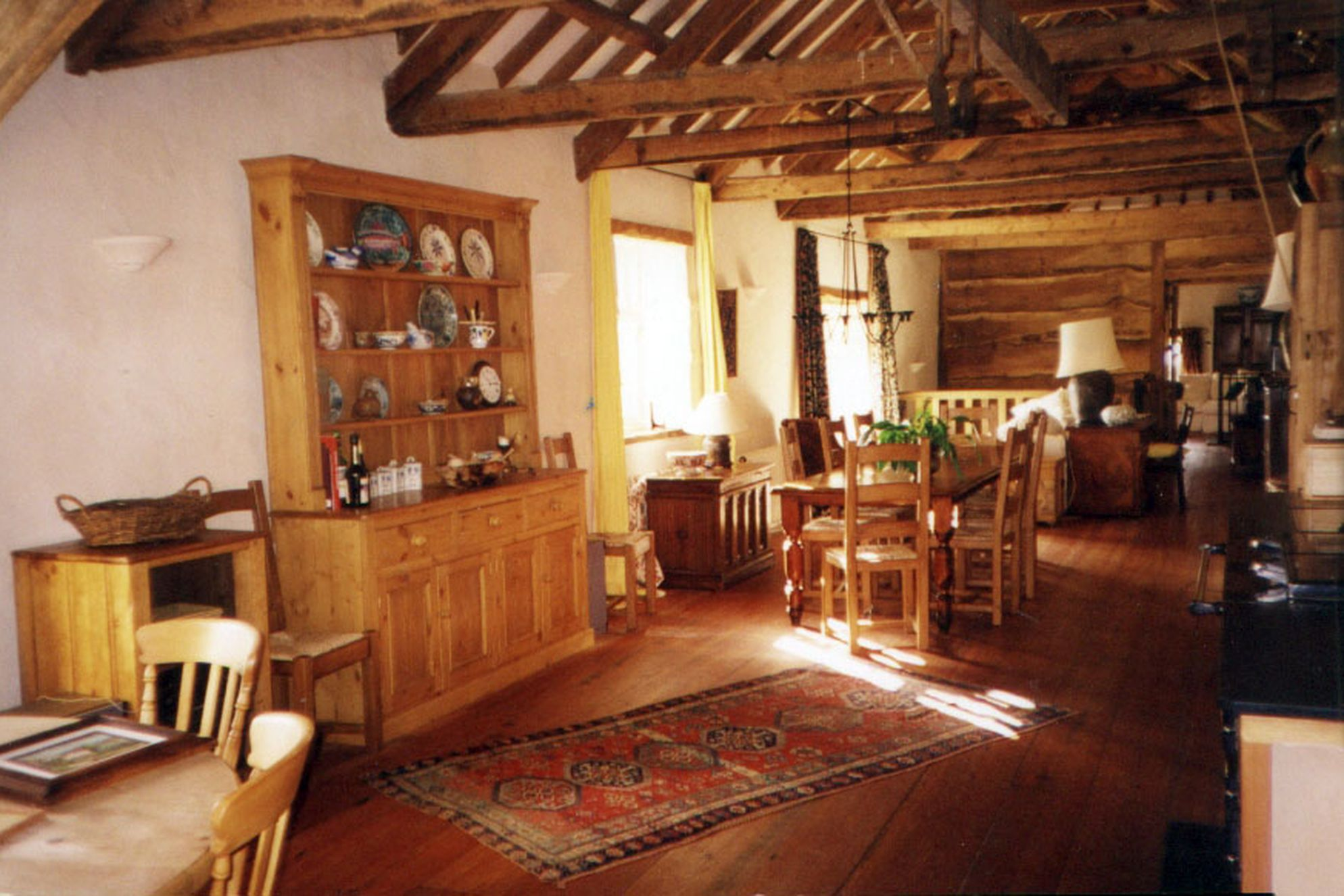 Open plan kitchen and dining room at East Penrest Farm in Cornwall