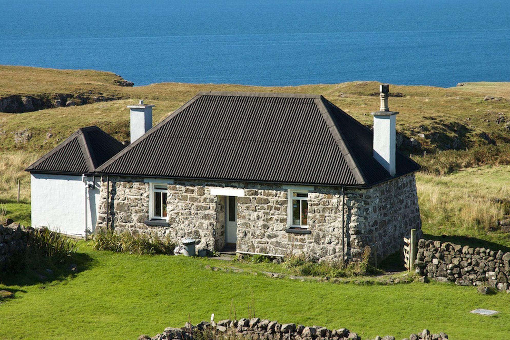 Exterior of Treshnish Farm in Scotland overlooking the sea
