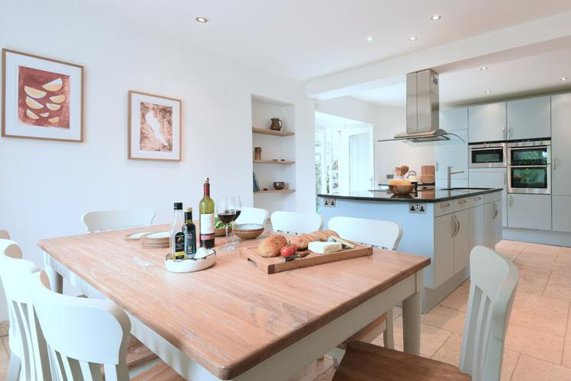 Open plan modern kitchen and dining area at Chy an Carrack in Cornwall