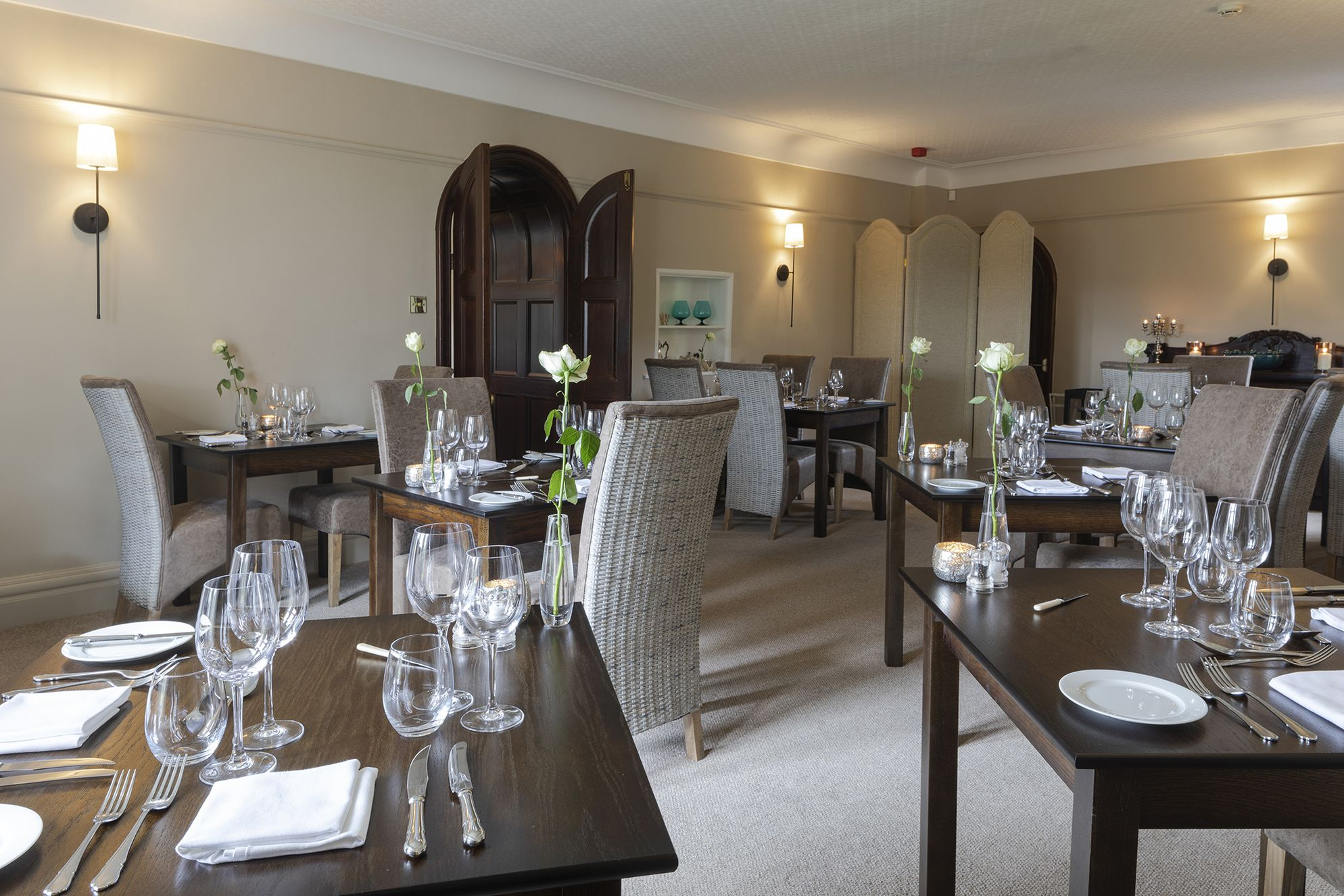 Elegant dining area at The Burgoyne Hotel in the north Yorkshire Dales