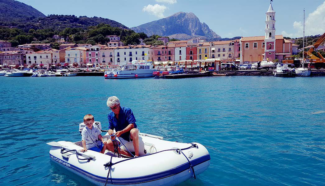 Locals on their boat cilento italy