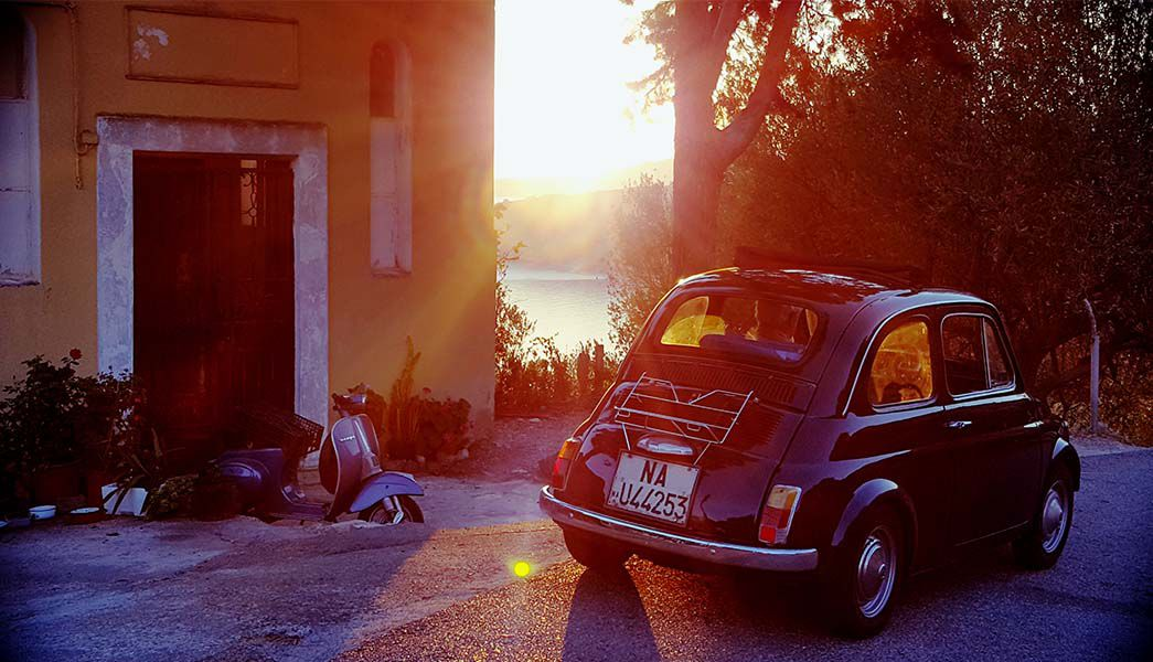 Vintage Fiat 500 in the sunset
