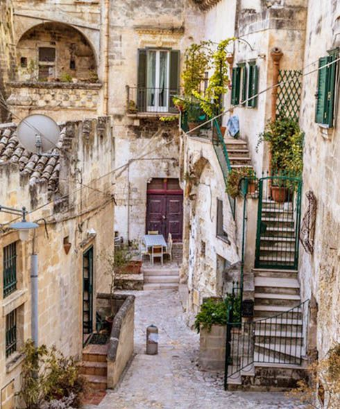 Streets of Matera village in Italy