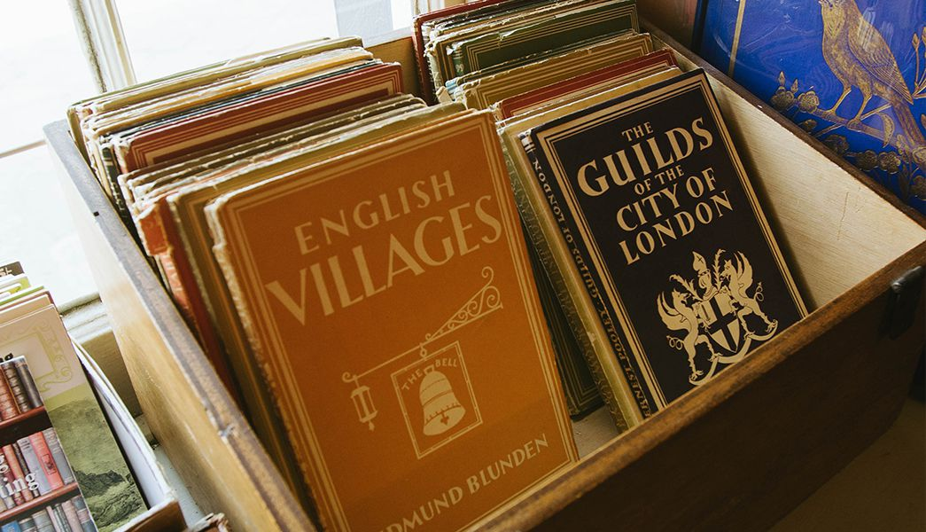Vintage books in one of Bridport's independent bookshops