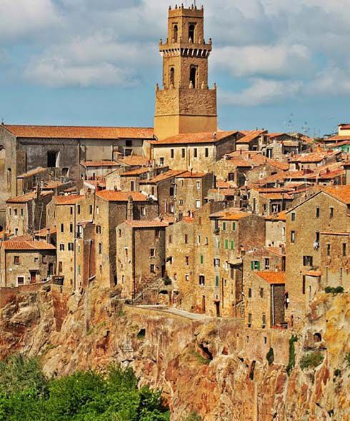 Golden buildings in a Tuscan hilltop village
